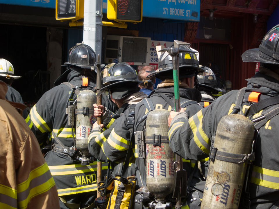 fdny firefighters firefighters with breathing gear new york ny usa